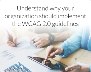 Understand why your organization should implement the WCAG 2.0 guidelines