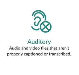 Auditory - Audio and video files that aren't properly captioned or transcribed.